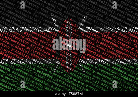 Kenya flag  is depicted on the screen with the program code. The concept of modern technology and site development. - Stock Image