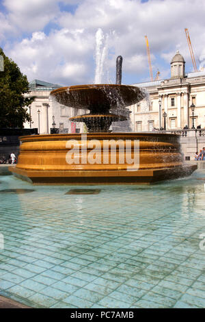 Fountain at Trafalgar Square London September 2017 - Stock Image
