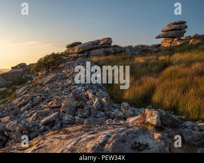 Fallen rocks littering the hill at the Cheesewring in Bodmin, Cornwall - Stock Image