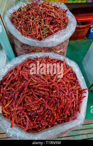 Thai red chili, Mueang Kanchanaburi Fresh Market, Kanchanaburi, Thailand - Stock Image