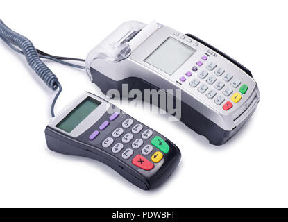 Credit card machine readers or pos terminals isolated on a white background - Stock Image