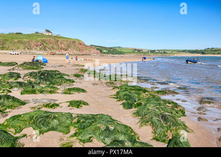 3 June 2018: Bigbury on Sea, Devon UK - The beach at low tide on a warm and sunny day. - Stock Image