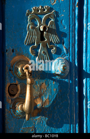 Detail of keyhole and door handle on a colonial door. Trinidad, Cuba. Trinidad is a UNESCO World Heritage listed - Stock Image