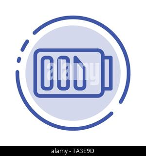 Charge, Battery, Electricity, Simple Blue Dotted Line Line Icon - Stock Image