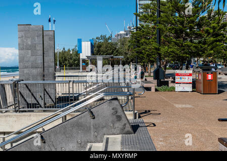 Surfers Paradise, Gold Coast, Australia, the countries premier tourist destination, The beach is the primary facility and here stainless steal guide a - Stock Image