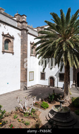 Views of the Patio de los Naranjos, Courtyard of the orange trees, in the Cathedral of Santa Ana, Las Palmas de Gran Canaria, Spain - Stock Image
