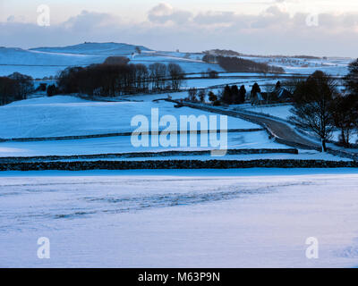 Peak District National Park, Derbyshire, UK. 28th February, 2018. UK Weather: Beast From The East snow & ice - Stock Image
