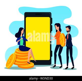 businessman and businesswomen teamwork with coins and smartphone - Stock Image