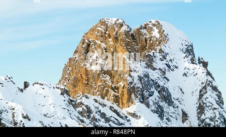 Courchevel Ski Resort Les 3 Vallees Rhone Alpes Savoie France Panoramic View from La Saulire Cablecar to the top French Alps Europe European Alpine - Stock Image