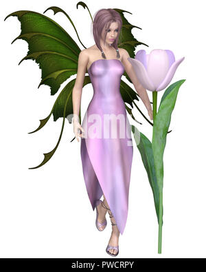 Pink Haired Tulip Fairy - Stock Image