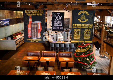 Empty restaurant bar and brewery at Amsterdam Brewhouse restaurant at Harbourfront Toronto - Stock Image