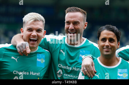 Windsor Park, Belfast, Northern Ireland. 14th Apr, 2019. 'My Tribute' Celebrity Football Match; Sam Gowland, Calum Best Liam Gatsby of the Calum's NI XI prior to kickoff Credit: Action Plus Sports/Alamy Live News - Stock Image