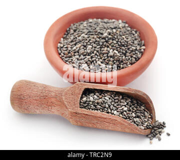 Organic Chia Seed, super food in a bowl over white background - Stock Image