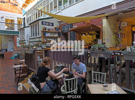 Manchester Craft Village, Oak Street Cafe, Vegetarian and other food in a relaxed environment, England, UK , M4 5JD - Stock Image
