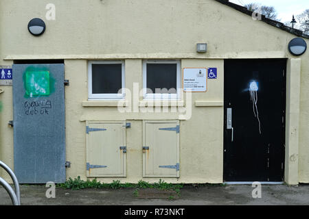 A closed down, locked-up public toilet in Camborne, Cornwall, UK - Stock Image