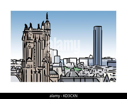 Illustration of Tour Saint-Jacques and Tour Montparnasse in Paris, France - Stock Image