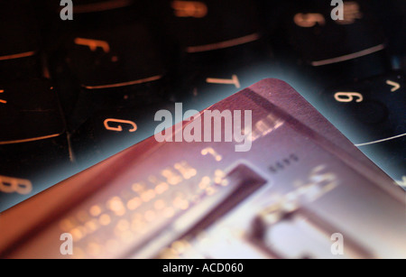On-line purchase using a credit or debit card. - Stock Image
