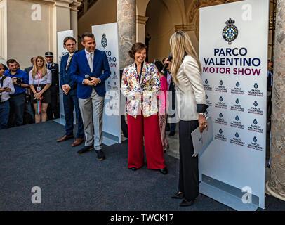 Piedmont Turin - Turin auto show 2019  - Valentino park - Valentino castle - Pro Rettore POlitecnico di Torino - Patrizia Lombardi - Stock Image