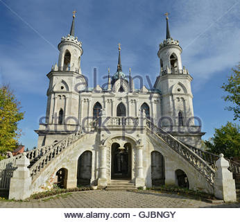 Church of the Vladimir icon of the Mother of God - the famous monument of Russian Gothic revival of the eighteenth - Stock Image