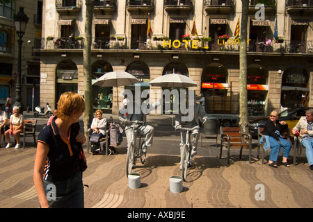 spain Barcelona Las ramblas street artists funny entertainer on bicycles - Stock Image