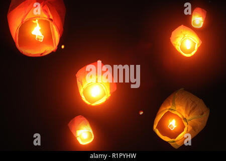 Chinese sky lanterns lit up the Indian skies during Diwali, due to infiltration of Chinese products sold cheap in India.These lanterns pose a huge thr - Stock Image
