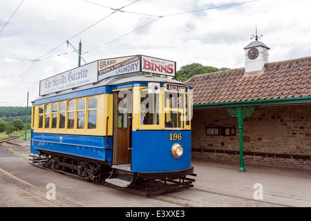 Old Fashioned Tram at Beamish Living Open Air Museum - Stock Image