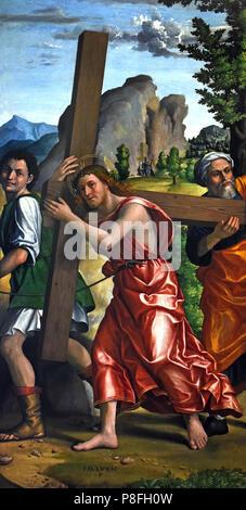 Polittico della Passione - Altarpiece of the Passion by Paolo Morando Cavazzola (1486–1522) Italy, Italian. - Stock Image