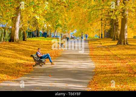 London, UK - October 3, 2018 - A man sitting and relaxing on a bench in Green Park during autumn season - Stock Image