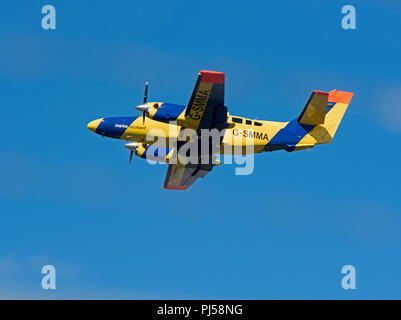 A Scottish Fisheries protection Aircraft leaves Inverness for a Maritime patrol over the West coast of Scotland. - Stock Image