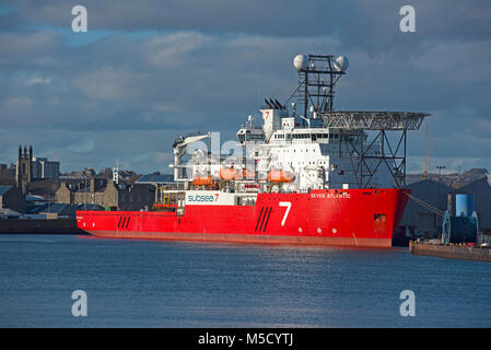 The Dive support vessel in its home berth at Aberdeen harbour, Grampian. Scotland. - Stock Image