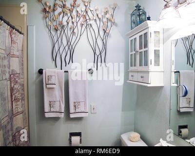 Cozy White Home Interior Bathroom, USA - Stock Image