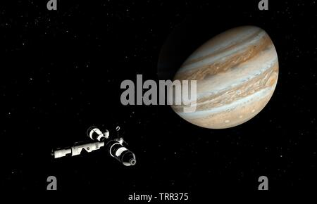 Jupiter and spaceship. Astronomy and science concept. Space theme. 3d Illustration. - Stock Image