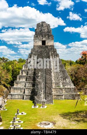 Temple of the Great Jaguar at Tikal in Guatemala - Stock Image
