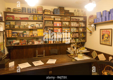 Old Victorian Edwardian shop interior at Radstock museum, Somerset, England, UK - Stock Image