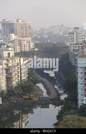 Arial view of the Gulshan lake in Dhaka, Bangladesh, January 31, 2019. © Rehman Asad / Alamy Stock Photo - Stock Image