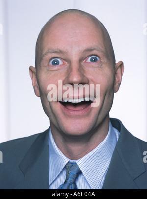 Unexpected suprise middle aged man portrait - Stock Image