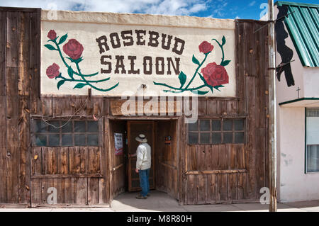 Rosebud Saloon on West Broadway in Mountainair, New Mexico, USA - Stock Image