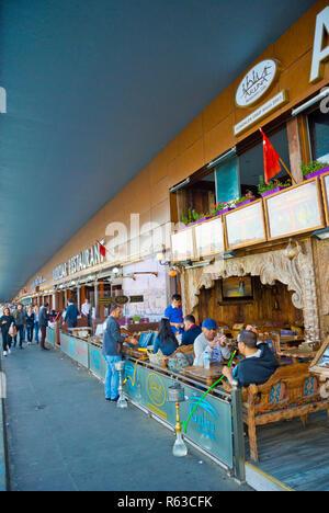 Cafe terrace, Galata Bridge, Istanbul, Turkey, Eurasia - Stock Image