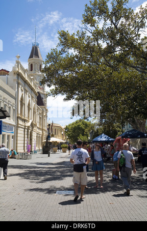 Pedestrian mall approaching Adelaide street and the town hall, Fremantle. Western Australia - Stock Image