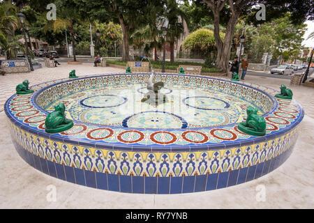 Fountain of the Frogs, with ceramic tile decoration, Santa Cruz de Tenerife, Tenerife, Canary Islands - Stock Image