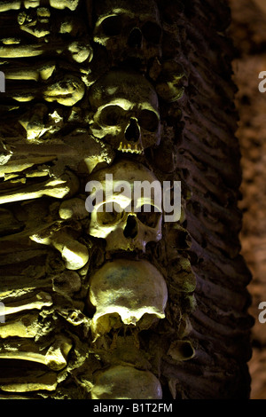 Walls decorated with human remains in the Chapel of Bones, Church of St Francis, Evora, Alentejo, Portugal, Europe - Stock Image