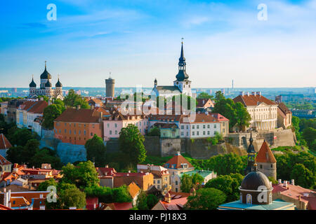 Tallinn Toompea Hill, view over Tallinn Old Town towards Toompea Hill with its twin cathedrals of St Mary's and Alexander Nevsky sited on the skyline. - Stock Image