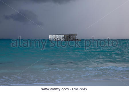 View from beach of incomplete Coralarium sculpture installation in Maldives - Stock Image