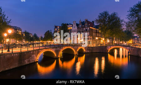 An evening in Amsterdam with the view from the Keizersgracht. - Stock Image