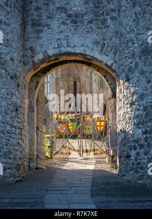 Chepstow Castle, entrance and  display of lances, flags and pennants.  Monmouthshire, Wales, UK - Stock Image