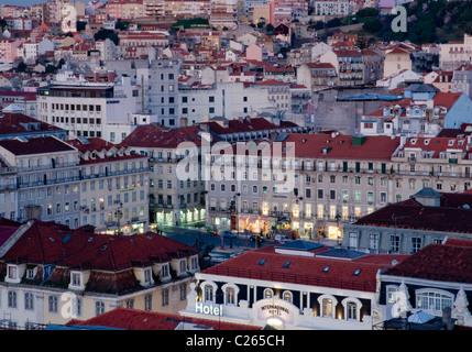 Overhead view of Praça da Figueira in central Lisbon, Portugal - Stock Image