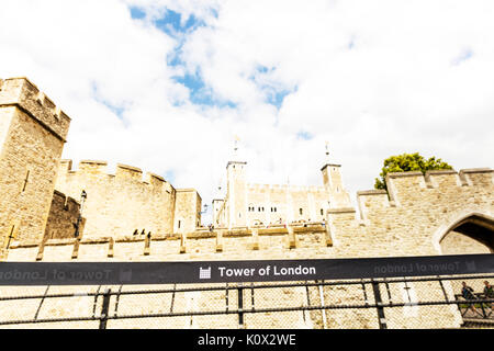 Tower of London, Tower of London fortress, Tower of London UK England, Tower of London landmark, Tower of London building, Tower of London exterior - Stock Image