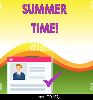 Text sign showing Summer Time. Business photo text achieve longer evening daylight summer setting clocks hour ahead Curriculum Vitae Resume of Young M - Stock Image
