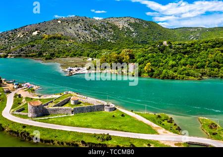 Venetian Triangular Castle and the Vivari Channel at Butrint in Albania - Stock Image