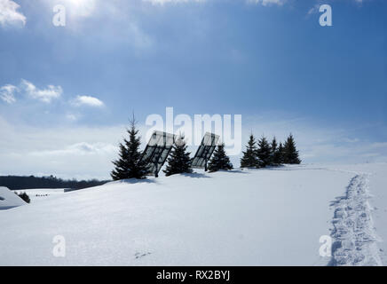 Solar photovoltaic panels on a hilltop with a row of spruce trees as a windbreak in a winter rural setting. - Stock Image